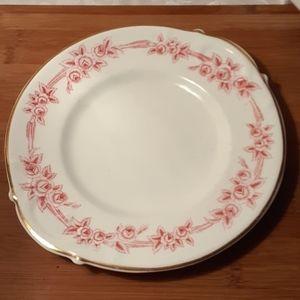 Vintage Decorative Pink Roses Trimmed Plate